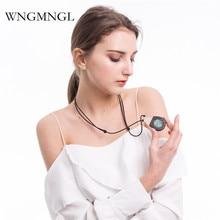 купить WNGMNGL 2018 New Women Pendant Necklace Wood Resin Natural Stone Charm Statement Long Drop Necklace For Women Fashion Jewelry по цене 310.68 рублей