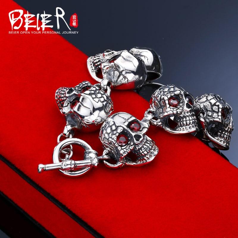 Beier 925 sterling silver bracelet Vintage link chain Domineering Skull Bangle Fashion Jewelry SCTYSL0209 цены онлайн