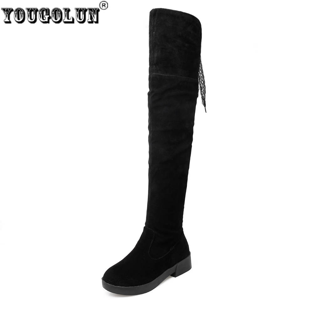 YOUGOLUN women thigh high boots women's ladies suede nubuck winter boots woman over the knee boots women shoes flats ppnu woman winter nubuck genuine leather over the knee snow boots women fashion womens suede thigh high boots ladies shoes flats