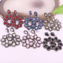 4Pairs New Fashion Jewelry Luxury Crystal Flower Earrings Bohemia Water Drop Pave Rhinestone Dangle Earrings For Women