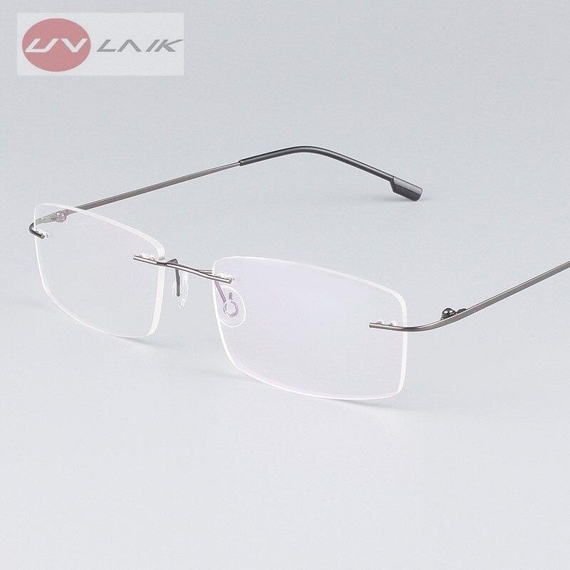 ộ_ộ ༽UVLAIK Classic Mens Pure Titanium Rimless Glasses Frames ...