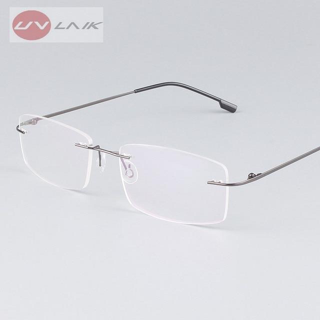 UVLAIK Classic Mens Pure Titanium Rimless Glasses Frames Myopia ...
