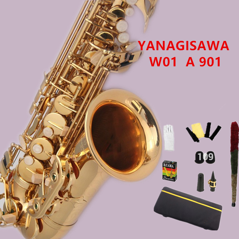 Hot New Japan YANAGISAWA W01 A 901 alto saxophone E flat Gold Lacquer Sax Music Ups Free Shipping with mouthpiece ,case,gloves цена