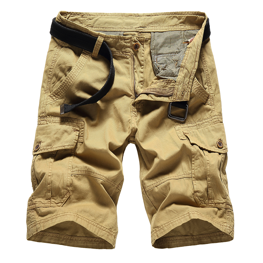 Solid Cotton Shorts Men Army Military Cargo Shorts Multi Pockets Man Summer Loose Work Casual Short Zipper Fly Design No Belt