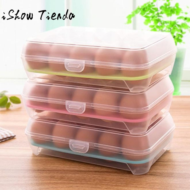 Fridge Storage Box Single Layer Refrigerator Food 15 Eggs Airtight
