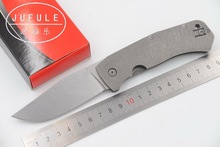 JUFULE Made C186 Folding Blade D2 Blade Titanium Handle Tactical Camping Hunting Survival Outdoor EDC Tool dinner kitchen knife