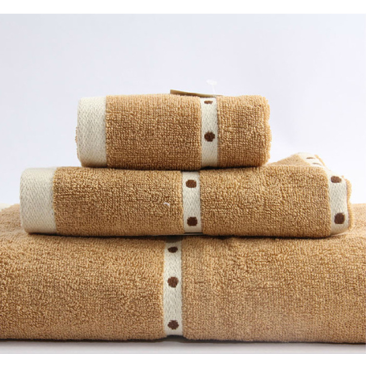 High Quality Towel Set 100% Cotton 3PCS Set Bath + Face + Hand Towels Pure Color Embroidery Soft Couple Towels Home Hotel Use