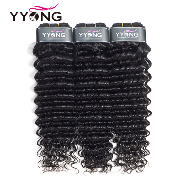 Yyong Hair 3 Bundle Deals Brazilian Deep Wave Hair Extensions 8-26 Inch Can Be Dyed 100% Human Hair Weave Natural Color Non Remy