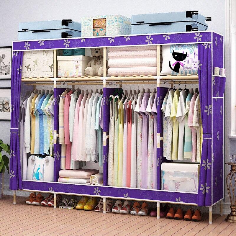 Meubles de rangement bois et tissu armoire maison chambre bébé meubles portable vêtements bébé placard armoire tissu