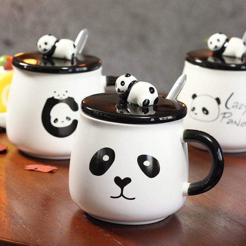 Creative Cartoon Panda Ceramic Mug 3D Embossed Cup Lid With Spoon Coffee Milk Teacup Student gift Breakfast Cup