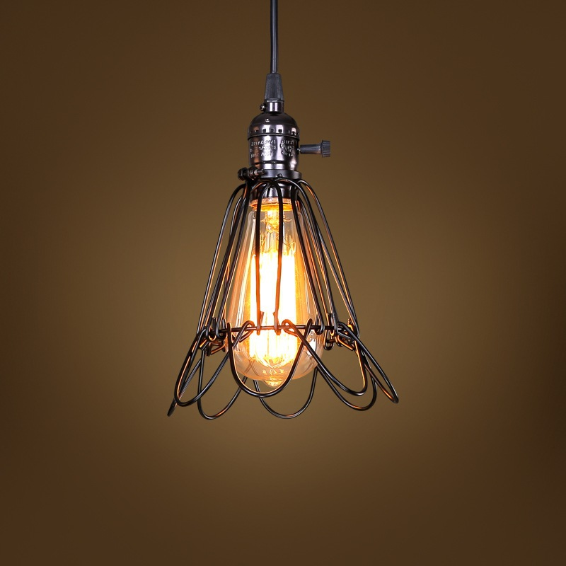 AISTARRY E27 Edison Vintage Light Loft Industrial Retro Droplight Iron Cage Pendant Light Hanging Lamp for Cafe Restaurant Home american edison loft industrial vintage edison grid loft ceiling lamp droplight cafe bar club balcony e27 black white iron cage