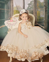 New Champagne Organza Cotton Lace Straps Flower Girl Dress Tutu Birthday Ball Gown Tulle layers For Kids Toddler Gowns