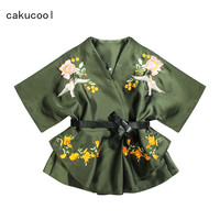 Cakucool Women Batwing Sleeve Jacket Spring Bird Embroidery Overcoat Outerwear Ruffles Belt Slim Cute Ladies Skirt