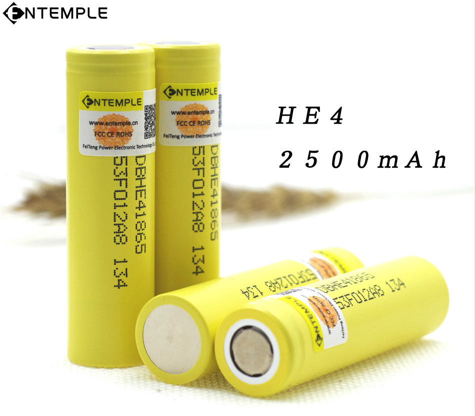 ENTEMPLE For LG HE4 2500mAh Li-lon Battery 18650 3.7V Power Rechargeable batteries Max 20A discharge E-cigarette ues