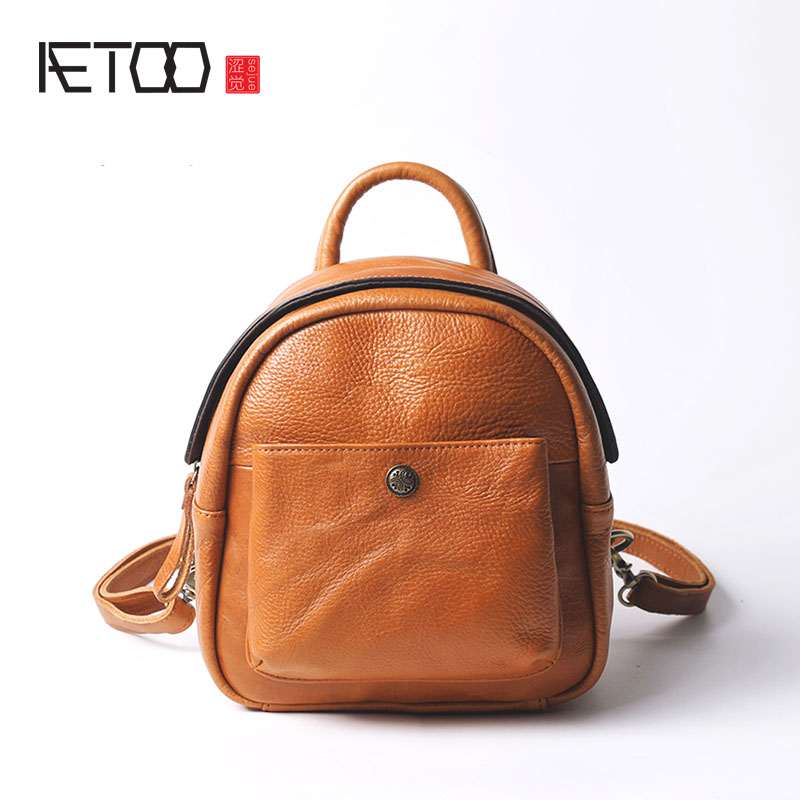 AETOO Shoulder bag leather female autumn and winter new small backpack retro leather mini casual original travel bag bag rdgguh backpack bag new of female backpack autumn and winter new students fashion casual korean backpack