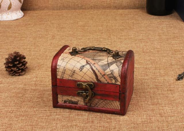 vintage wooden jewelry boxstorage boxretro nostalgia Western tamps