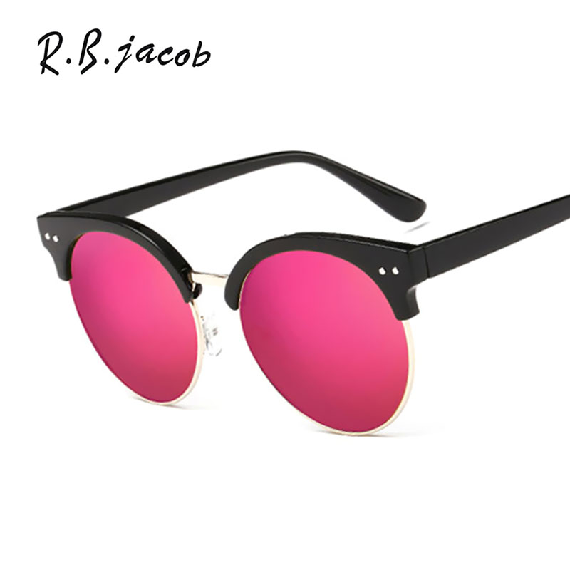 Female Sunglasses Round Fashion Brand Designer Classic Mirror UV400 Purple Eyewear Lady Sun Glasses Female Women Cat Eye
