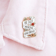 Inspirational Jewelry Quote Flower Banner Enamel Brooches Pins for men women(China)