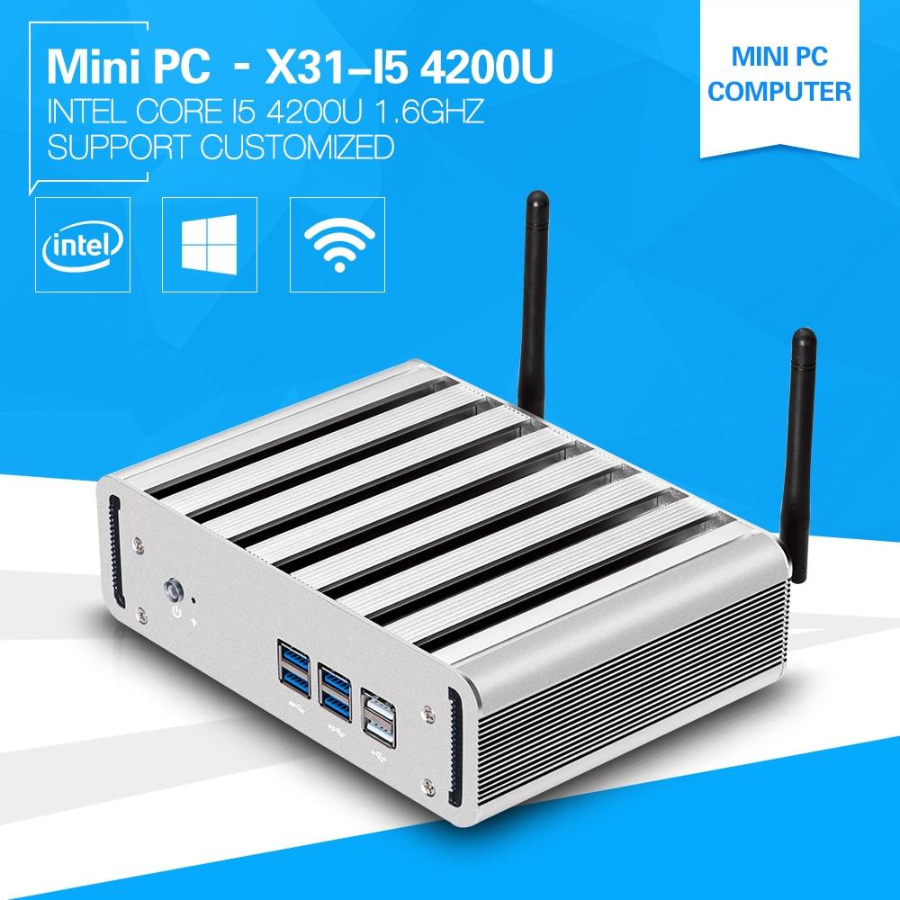 New Mini Computer windows 10 8G Ram i5 4200U 1.6GHz Dual Core Desktop PC with HDMI+VGA USB3.0 128G black Metal build-in-wifi