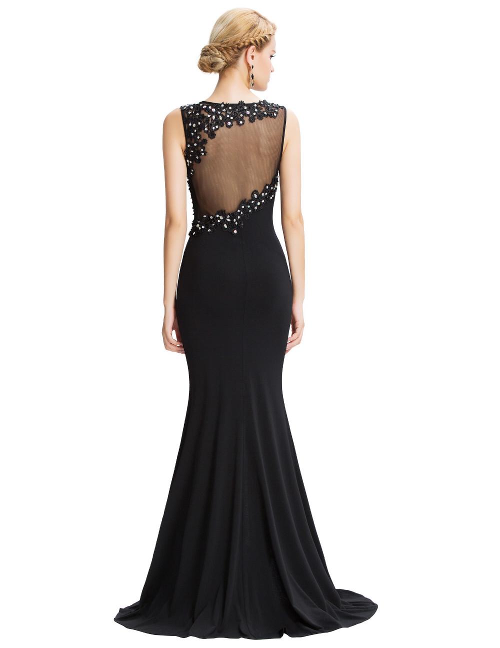Grace Karin Sleeveless Black Mermaid Evening Dresses Floor Length Elegant Long Formal Dresses Robe De Soiree Sexy Evening Gowns 13