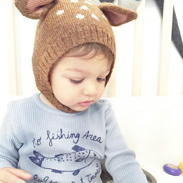 1b178521c34 Baby Fitted Hat Cotton Cute Deer Ear Adjustable Cap Unisex Knitted animal Hat  Toddler Bonnet Touca De Inverno Sombrero Mz002