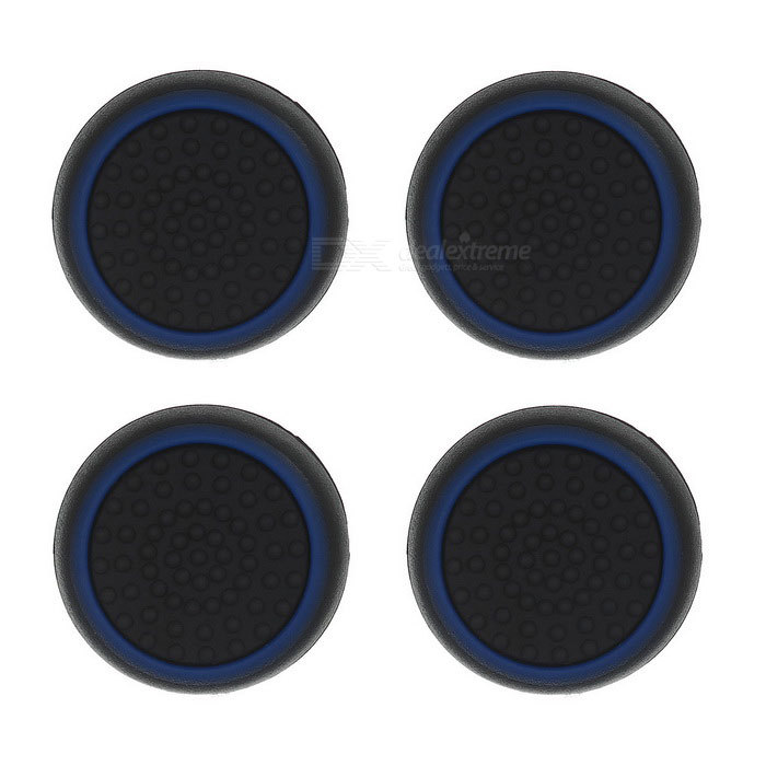 4pcs Black+Blue Anti-Slip Analog Joystick Rocker Soft Silicone Cases Caps Covers for PS4/PS3/XBOXone/XBOX360