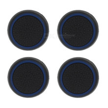 4pcs Black Blue Anti Slip Analog Joystick Rocker Soft Silicone Cases Caps Covers for PS4 PS3