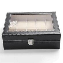 10 Slots Organizer Case Faux Leather Storage Holder Wrist Watch Display Box