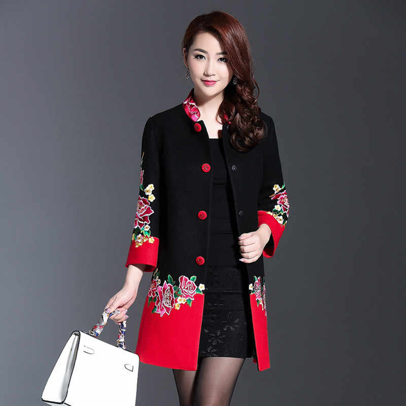 Plus Size 4XL Cashmere Flower Embroidery Women Winter Long Coats 2019 Black Red Patchwork Single Breasted Eleagnt Overcoat Lady