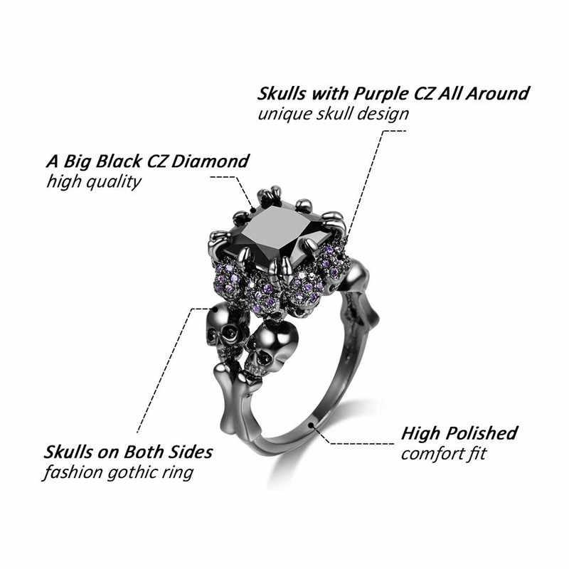 Винтажные черные кольца для мужчин и женщин с черепом в стиле принцессы, ювелирные изделия в стиле панк, подарок для девочек, обручальное кольцо для помолвки