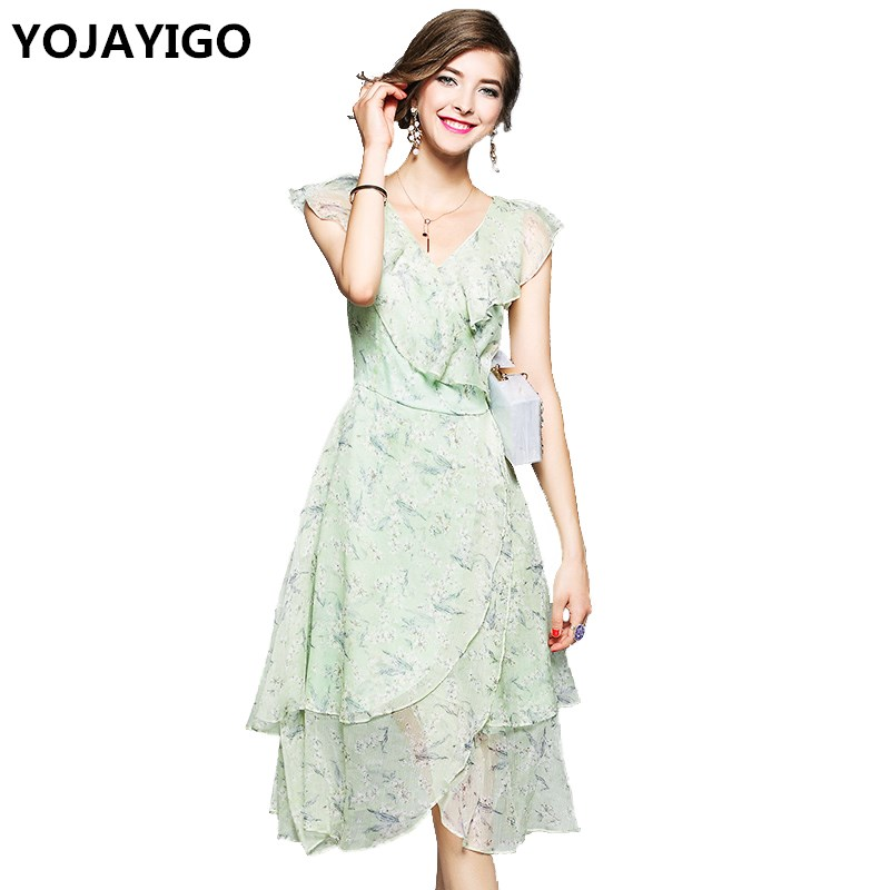 product New2017 Summer Women DressesV-neck Print Slim Sexy Fashion DressBohemian Butterfly sleeve Highquality Casual Dress