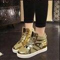 2017 Марка повседневная Обувь Ботильоны Женские Каблуки Платформы Обувь Женская Высота Увеличение Золото Дышащей Обуви