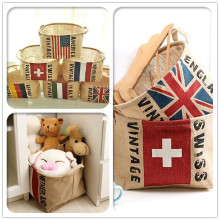 1pc Japan Zakka Style Flag Pattern Design Grocery Creative Home Storage Basket/Storage Barrels/Laundry Basket 30.5*21.5*24.5cm