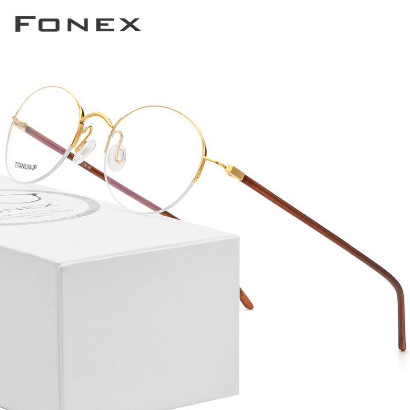 Pure Titanium Glasses Frame Women Ultralight Vintage Round Brand Designer Men Retro Prescription Optical Frames Eyewear