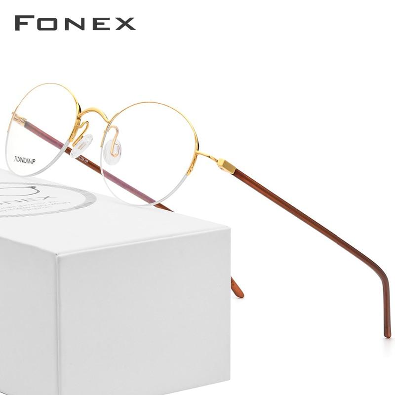 Pure Titanium Glasses Frame Women Ultralight Vintage Round Brand Designer Men Retro Prescription Optical Frames Eyewear 9124