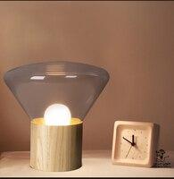 Nordic американский современный деревянный стеклянный Настольная лампа прикроватная лампа кафе лампа