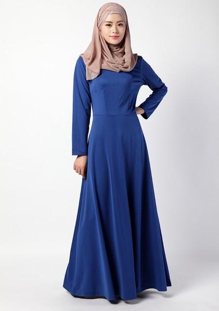 3 Colors Long Sleeves Abaya Fashion Dress Muslim Women's Floor-Length Jibabs Ethnic Styles A-Line Robe Islamic Culture Dresses