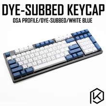 مجموعة أغطية مفاتيح dsa بألوان بيضاء وزرقاء ملونة من البلاستيك PBT للوحة المفاتيح gh60 xd60 xd84 كوسبيد tada68 rs96 zz96 87 104 660