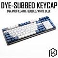 Dsa краситель белого и синего цвета  набор ключей  PBT пластик для клавиатуры gh60 xd60 xd84 cospad tada68 rs96 zz96 87 104 660
