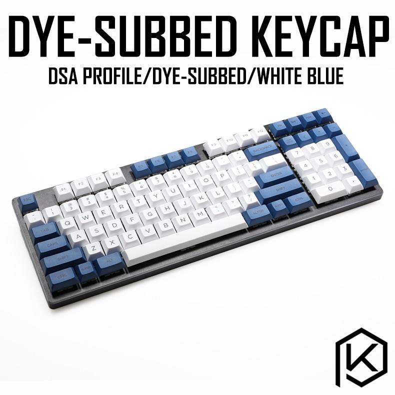 Dsa White Blue Colorway Dye Sub Keycap Set PBT Plastic For Keyboard Gh60 Xd60 Xd84 Cospad Tada68 Rs96 Zz96 87 104 660