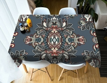 Customizable Tablecloth 3d Classical Mandala Pattern Waterproof Cloth Thicken Rectangular and Round Table for Wedding