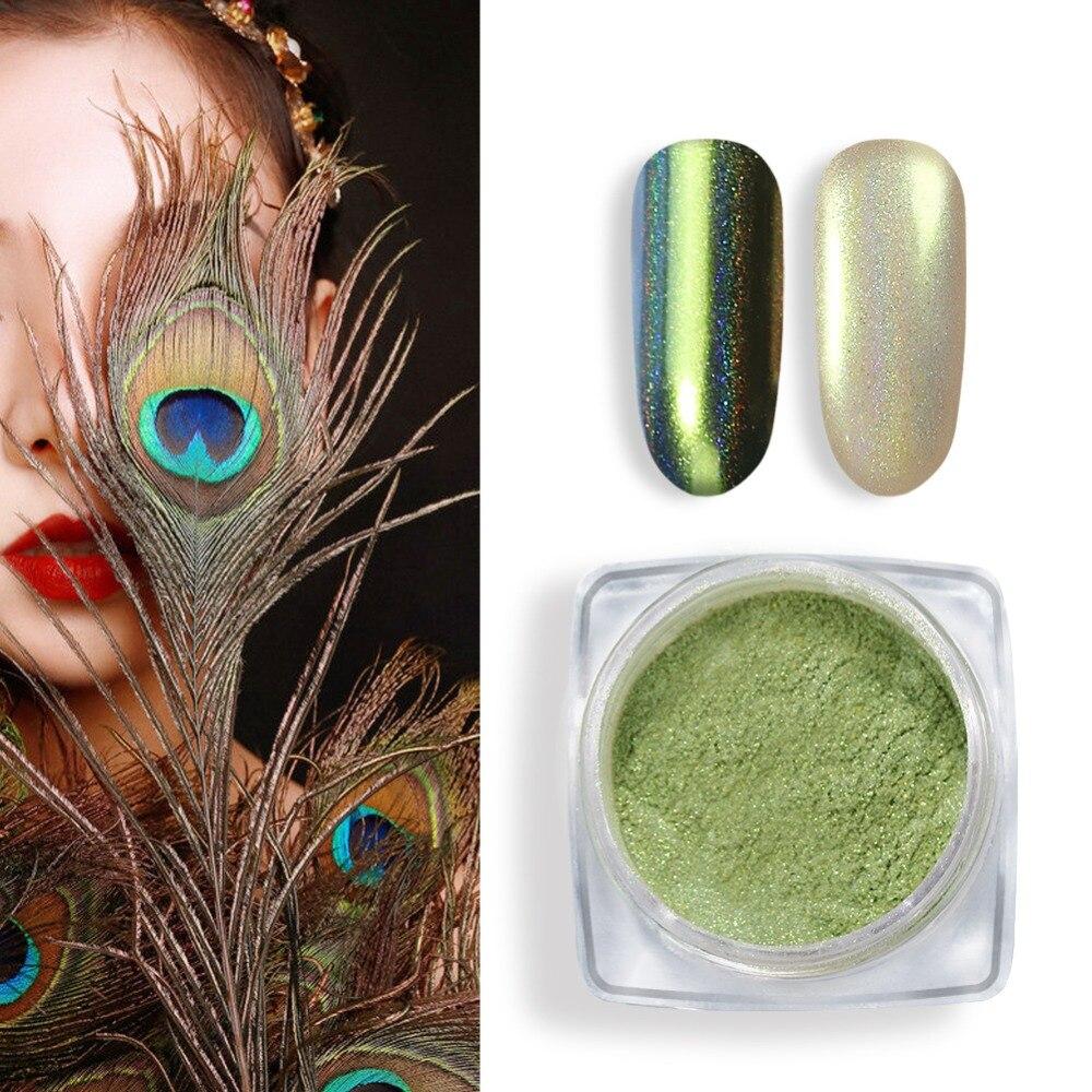 0,2g Pfau Pulver Nagel Glitter Holographische Spiegel Laser Staub Nail Art Chrome Pigment Nail Art Maniküre Dekoration Benötigen Basis Nails Art & Werkzeuge Nagelglitzer