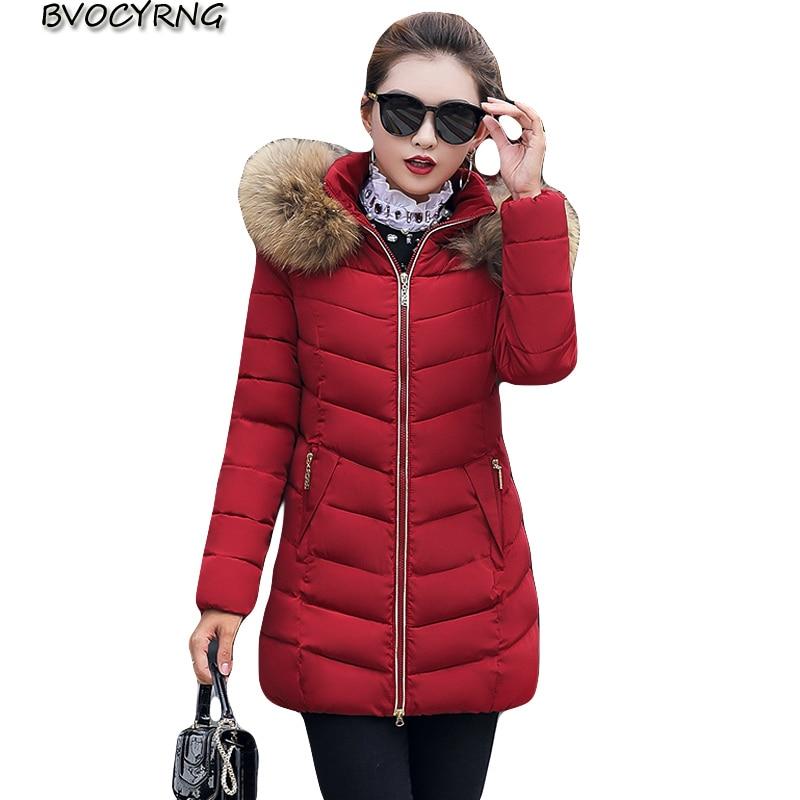 2018 New Winter Jacket Women Fur Hooded   Parka   Long Coats Cotton Padded Winter Coat Women Warm Thicken Jaqueta Feminina Inverno
