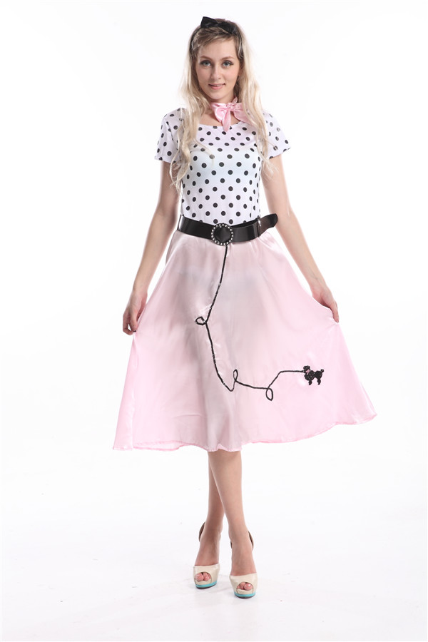 Free shippig Ladies 50s Poodle Girl Costume for Rock n Roll Rockabilly Fancy Dress