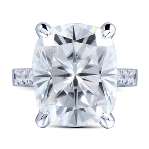 Image 2 - Transgems Big Stone 14K 585 White Gold 5ct Carat 9X11 Cushion Cut FG Color Moissanite Engagement Ring for Women Wedding Gift