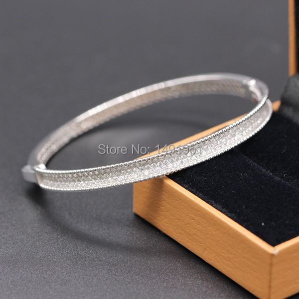 Classic 925 Sterling Silver Clear Crystal Bracelet Bangle