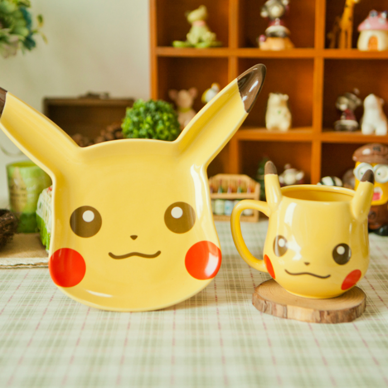 Anime Game Pokemon Pocket Monsters Pikachu Coffee cup Creative Cute Ceramic Coffee Cup and Dessert plate fashion Friend Gift
