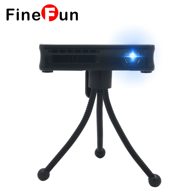 FineFun 2017 HD 1080p Phone Mini Portable LED Projector For Home Theater Wireless Wifi Projector Compatible With Android 4.4