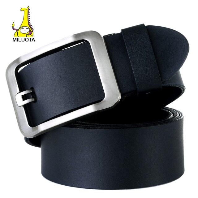 [MILUOTA] 100% Cinturones de Cuero Genuino para Los Hombres A Estrenar Vaqueros Pin Hebilla de Correa Masculina de la correa Para Hombre de Lujo de la Correa LW532