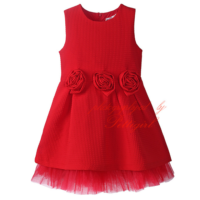 fashion design girls floral dresses children red christmas dress wholesale kids clothing gd80915 169f - Red Christmas Dresses